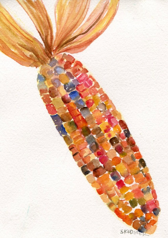 Indian Corn watercolors paintings original, veggies art, kitchen art, 5 x 7, kitchen wall decor, original painting of colorful corn