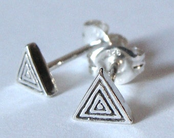 Small Sterling Triangle Studs Post Earrings Sterling Silver Triangle Earrings Triangle Studs