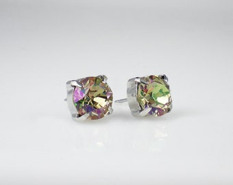 Luminous Green Rhinestone Stud Earrings Swarovski Yellow Green Lavender Pink Wedding Jewelry Flower Girl Earrings Bridesmaid Earrings