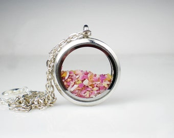 Floating Glass Locket Necklace Raspberry Pink Gold Glass Jewelry