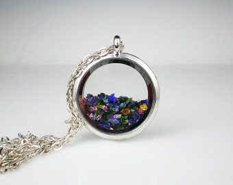 Floating Glass Locket Necklace Rainbow Color Glass Jewelry