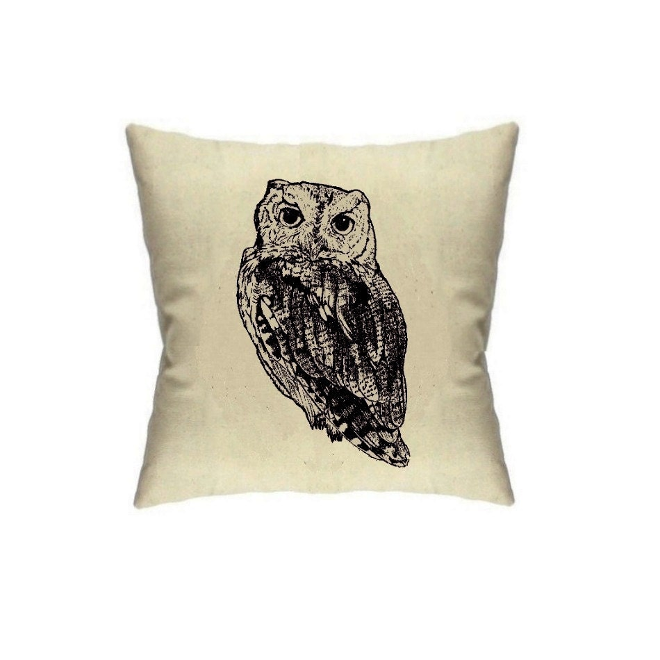 Owl Throw Pillow Owls Home Decor 18 x 18 Linen Throw Pillows