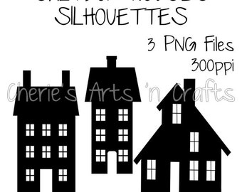 Saltbox Houses Silhouettes, Silhouettes, Silhouette Clipart, PNG Files, Instant Download, Silhouette Graphics, Silhouette Primitive Houses