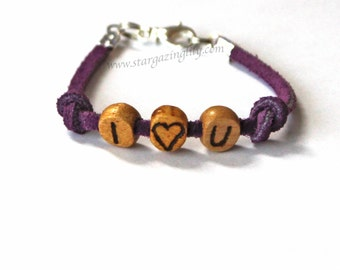 I love You bracelet. Or personalize it! YOU CHOOSE Leather Suede strap Wood Letters Free Hand Burnished Lobster Claw Clasp