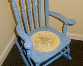 Lil' Man In The Moon rocking chair- Handpainted handmade Antique Toddler-sized rocker (for looking at AND sitting upon!)