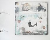 "Original Folk Art Acrylic Painting on Canvas. 24 x 24"" ,  Mixed Media Nautical Mermaid Art.  One of a Kind. Free Domestic Shipping"
