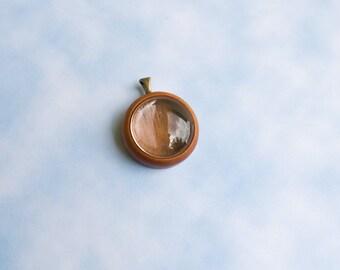 Fine finished hardwood shadow box pendant blank - Mahogany - 20 mm - Brass Bail - Cab Included