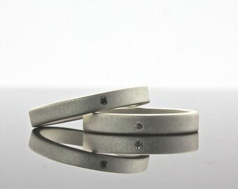 Black Diamond and White Diamond Sterling Silver Rings - 3 mm Bands - Flush Set Wedding Band Set with Matte Finish -  Matching Rings
