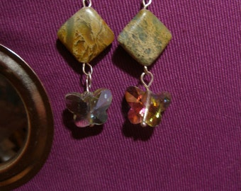 Earrngs, color shifting AB crystal butterflies under jasprer squares  FunkyAlternativejewelry, HandmadeJewelryGuild,  SupportingArtists