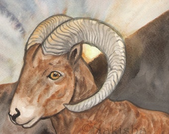 Original Art - The Sun  - Watercolor Bighorn Sheep Painting -The Badgers Forest Tarot