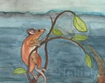 Original Art - The Wheel - Watercolor Mouse Painting -The Badgers Forest Tarot