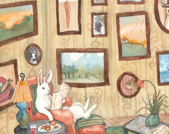 The Art Collector - Fine Art Rabbit Print
