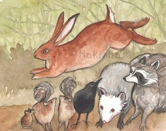 Original Art - The Six of Rabbits - Watercolor Rabbit Painting -The Badgers Forest Tarot