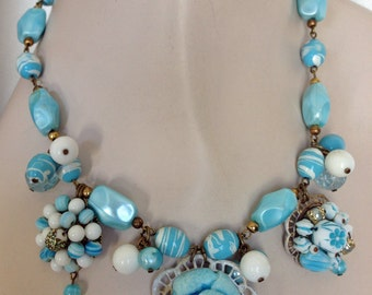 Vintage Beaded Statement Necklace -Turquoise Blue - Vintage Earrings -  One of a Kind