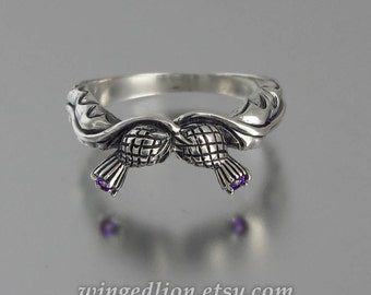 THISTLE BRANCH silver band with Amethysts