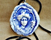 Hand Built Ceramic Gibson Girl Necklace
