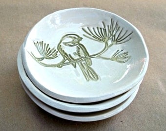 THREE Ceramic Sage Bird Prep Bowls
