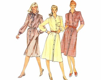 1980s Misses Shirtdress Front Button Dress Vogue 7924 Vintage Sewing Pattern Size 12 Bust 34 UNCUT