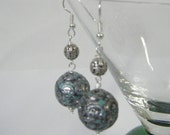 Textured Silver and Blue Chunky Dangly Earrings on Silver Plated Surgical Steel