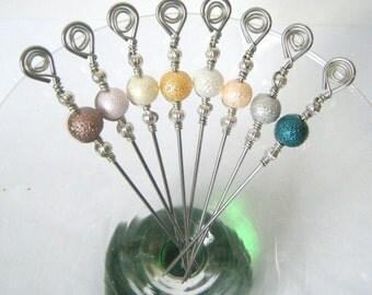Textured Pearl Beaded Stainless Steel Cocktail Picks Appetizer Picks Martini Picks Barware Entertaining Set of 8
