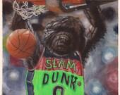 "Slam Dunk  8.5 x 11"" print by Ray Young Chu (Dog Dunking Basketball)"