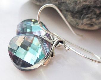 Blue Swarovski Crystal Earrings, Aquamarine Swarovski Crystals, Sterling Silver Briolettes, Fashion Jewelry, Gift for Her - NORTHERN LIGHTS