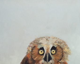 Baby Owl - painting, nature, oil painting, art print