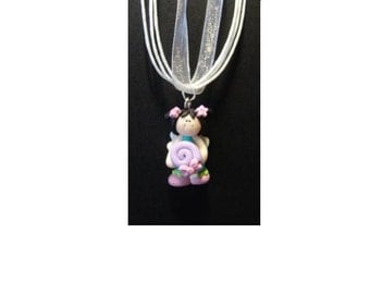 Your Choice Standing Fairy Necklace, Polymer Clay, Choose Fairy Color, Choose Necklace Color, Fairy Princess Necklace