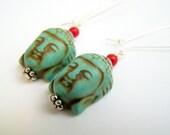 Turquoise Buddha Earrings, Stone Buddha Earrings, Quan Yin, Turquoise & Red Buddha Dangles, Yoga Inspired Turquoise Earrings Eastern Jewelry