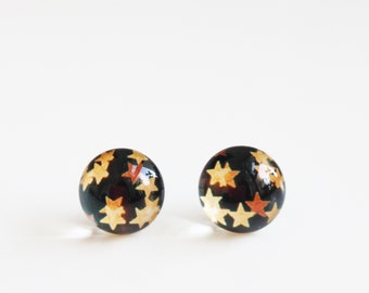 12mm Starry Night Stud Earrings. Surgical Steel Earrings Post. Christmas Night, Christmas Light, Star Post Earrings, Medium Size