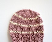 SALE 100% Cotton Striped Girl Baby Beanie in Lavender