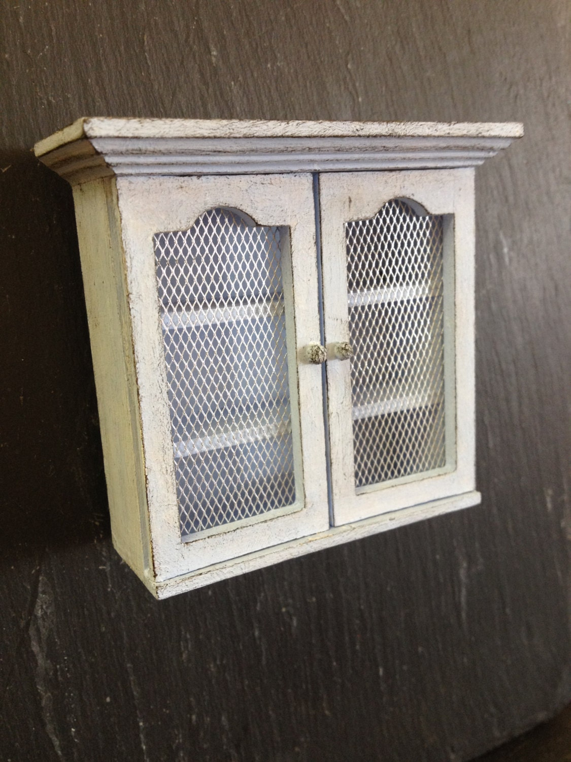 Dolls House Miniature Chicken Wire Kitchen Cabinet