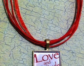 Love and Gratitude - Square Gold Glass Bezel Setting - Altered Wearable Art Pendant Necklace with Red Organza Ribbon Choker