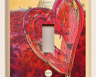 Single Toggle Light Switch Plate - Red and Yellow Heart