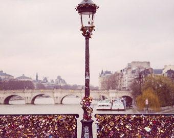 Paris Love Locks Bridge, Paris Photography, Valentines, Wedding Gift for Paris Lovers, Pont Des Arts, Romantic Art