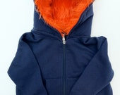 Toddler Monster Hoodie - Size 6T - Navy blue with orange - horned sweatshirt, custom jacket