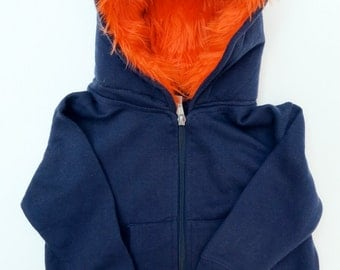 Toddler Monster Hoodie - Size 2T - Navy blue with orange - horned sweatshirt, custom jacket