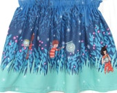 Girl Skirt Elastic Waist Size 4 Ready to Ship Sarah Jane Fabric Let's Pretend, Children on Parade, Wee Wander or Ship Ahoy