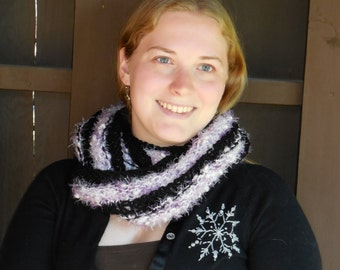 Infinity Loop Wool and Flash Scarf - Warm Hand Knit Black and Purple Moebius