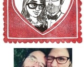 Tiny Custom Couple Portrait in hand stamped heart frame