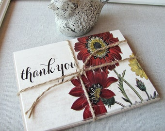 Autumn Floral Thank You Notes - Fall thank you - rustic note cards - botanical thank you cards - thank you card set - wedding thank yous