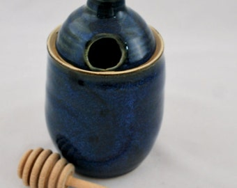 Cobalt Blue Ceramic Honey Pot Wheel Thrown Stoneware Clay Pottery