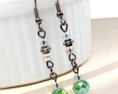 RED TAG CLEARANCE - Green Crystal and Gunmetal Hook Earrings, Plus Size Jewelry