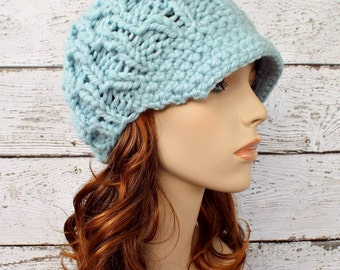 Blue Newsboy Hat Knit Hat Womens Hat Blue Hat Blue Beanie - Amsterdam Beanie Glacier Mint Blue Knit Hat Womens Accessories