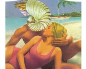 Strange Art Original Collage on Paper Seashell Artwork Nautilus Shell Art Summer Romance Beach Lover Coastal Art