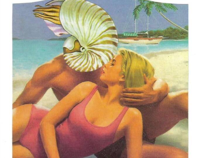 Summer Love Art, Beach Romance Artwork, Nautilus Shell Collage