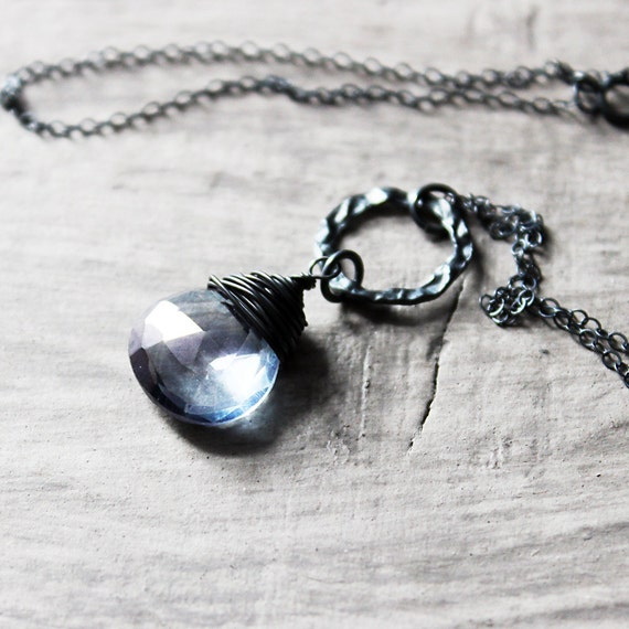 Light Blue Necklace, Black Oxidized Sterling Silver Necklace, Quartz Gemstone Necklace, Circle Necklace, Wire Wrap Necklace