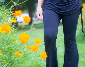 Pants Flare leg Yoga pant with attached skirt and side gathers