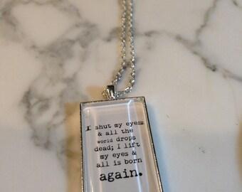 Sylvia Plath Necklace, I Shut My Eyes, Sylvia Plath, Quote Necklace, Quote Cameo, Sylvia Necklace, Literary Jewelry, Literary Charm