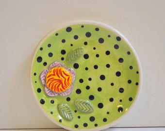 Little Plate- Trinket Dish- Ring Dish- Multipurpose Flower Plate- Green with Black Polka Dots and Red and Purple Flower